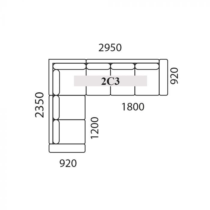 Holmsbu 3C2/2C3 hjørnesofa - lys grå - vendbar