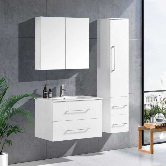 LinneaDesign 80 cm baderomsmøbel hvit høyglans