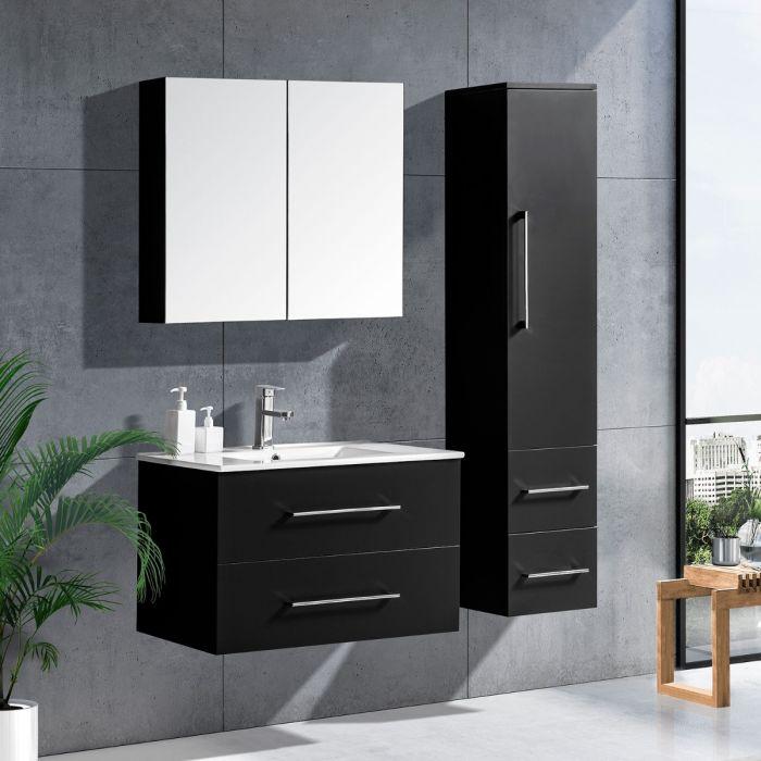 LinneaDesign 80 cm baderomsmøbel sort høyglans