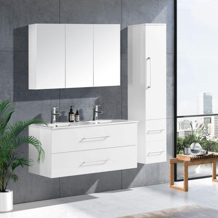 LinneaDesign 120 cm baderomsmøbel dobbel hvit matt