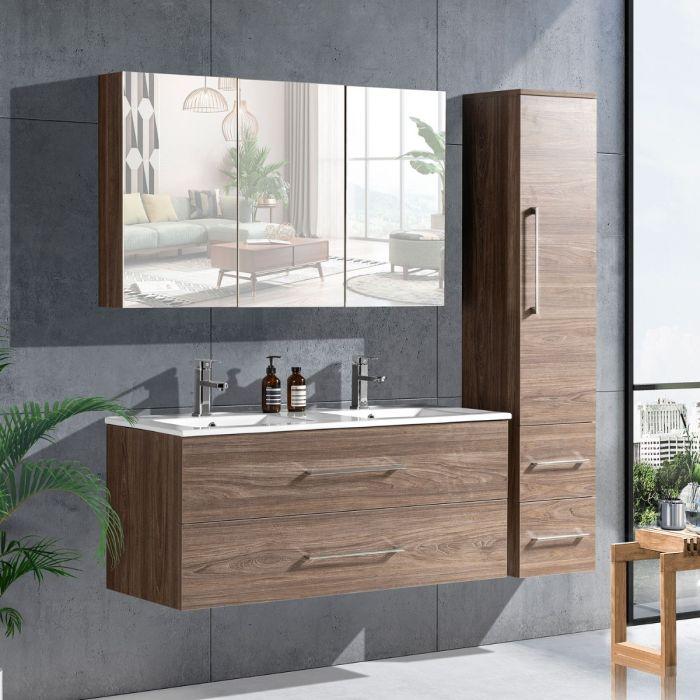LinneaDesign 120 cm baderomsmøbel dobbel grå alm