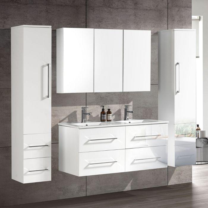 CleoDesign 120 cm baderomsmøbel dobbel hvit høyglans