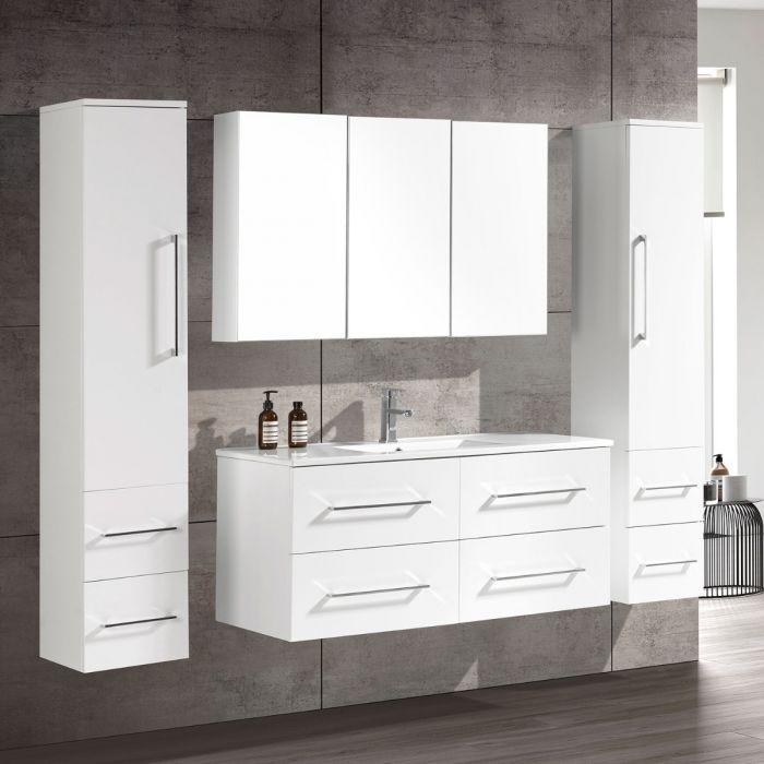 CleoDesign 120 cm baderomsmøbel single hvit matt