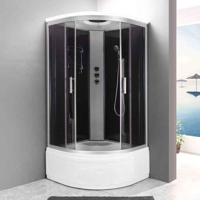 Edel dusjkabinett med badekar grå