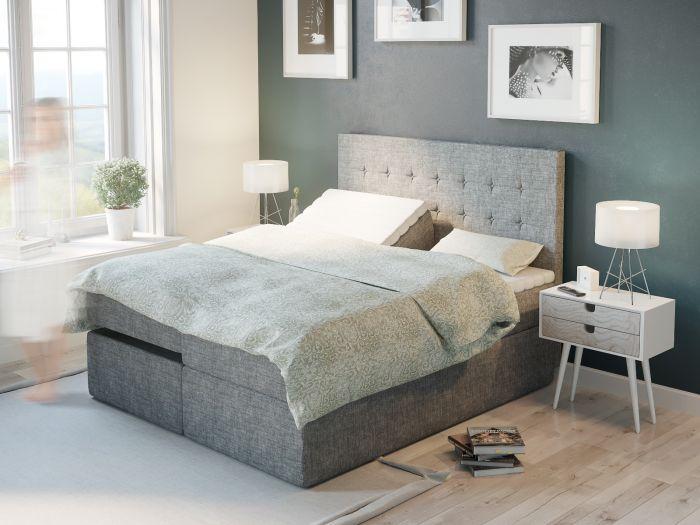 Premium regulerbar seng 180x200 - lys grå