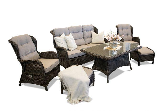 Karibia - Spisegruppe med treseter sofa, reclinere og bord i chocolate