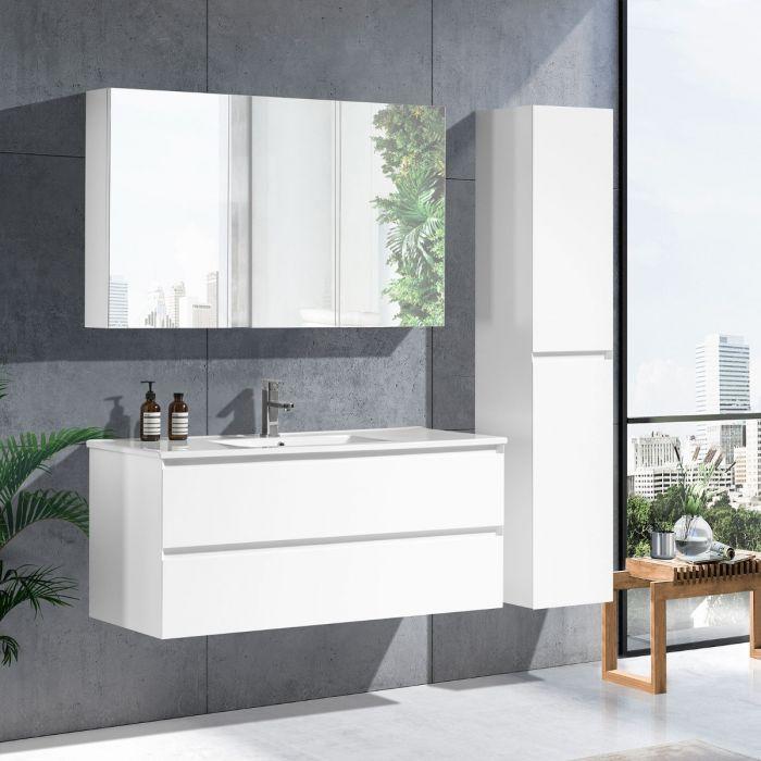 StellaDesign 120 cm baderomsmøbel single hvit matt