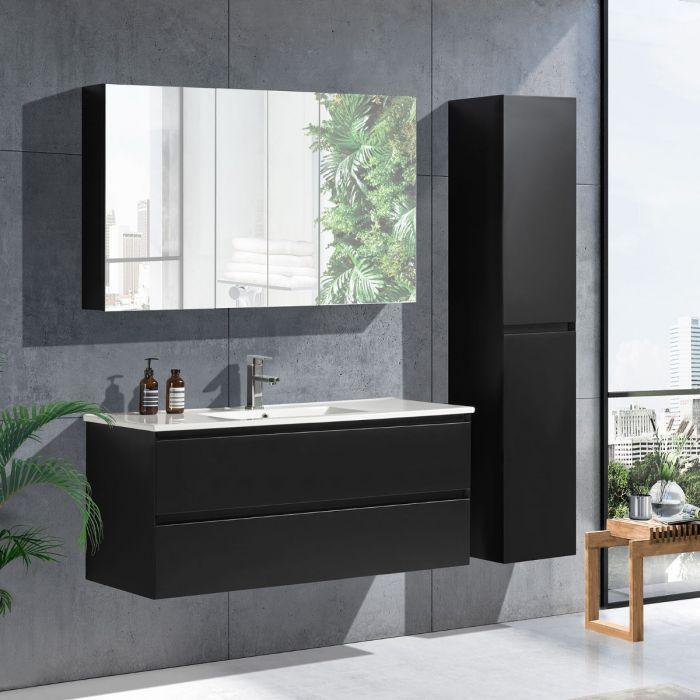 StellaDesign 120 cm baderomsmøbel single sort matt