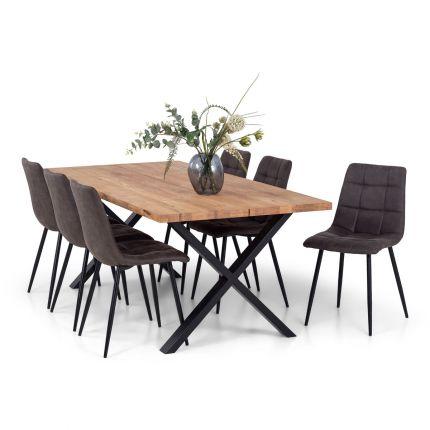 Odin spisegruppe 200 cm i natur eik (delt) med X-bein + 6 Edvard stoler i fargen brun