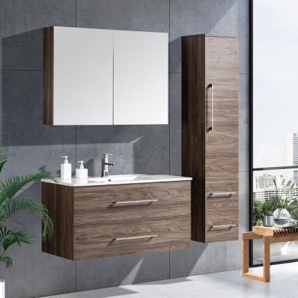 LinneaDesign 100 cm baderomsmøbel grå alm
