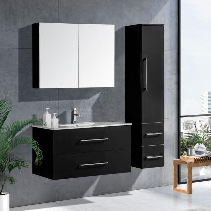 LinneaDesign 100 cm baderomsmøbel sort høyglans