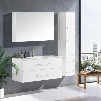 LinneaDesign 120 cm baderomsmøbel single hvit høyglans