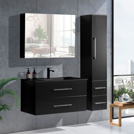 LinneaDesign 100 cm baderomsmøbel i sort matt m/sort servant
