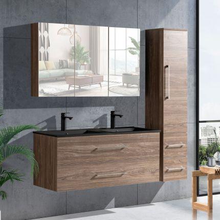 LinneaDesign 120 cm baderomsmøbel dobbel i grå alm m/sort servant