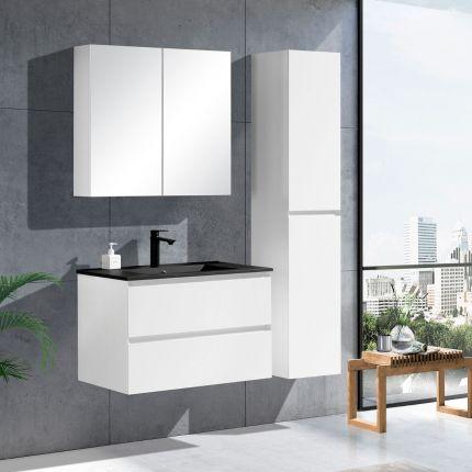 StellaDesign 80 cm baderomsmøbel i hvit matt m/sort servant
