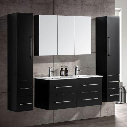 CleoDesign 120 cm baderomsmøbel dobbel sort matt