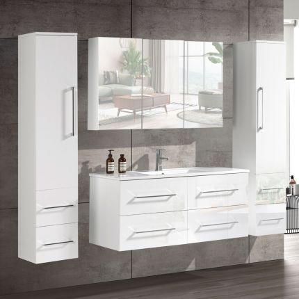 CleoDesign 120 cm baderomsmøbel single hvit høyglans
