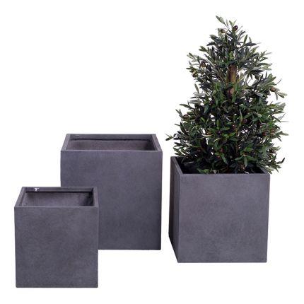 Braga - Sett med tre grå potter