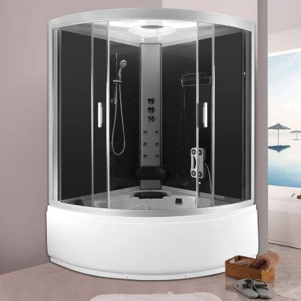 Susanne dusjkabinett/badekar grå 135x135