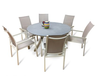 Tropica spisegruppe m/bord og 6 stoler i aluminium